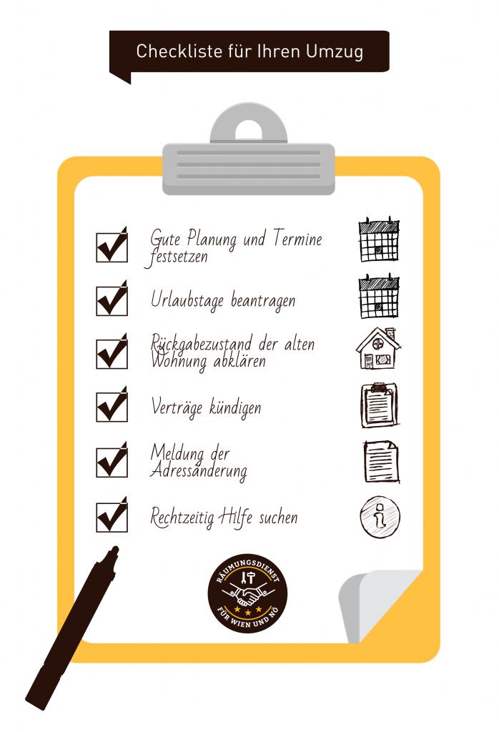 Checkliste für Umzug